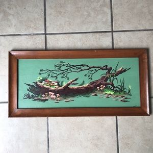 VINTAGE FOREST PAINTING with mushrooms
